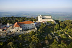 837-82 (larrywkoester) Tags: specialtechnique view aerial aerialphotography naturephotography landscapephotography locations geography destinations middleeast israel galilee mounttavor holyland mountain tabor transfigurationchurch religions christianity architecture religiousarchitecture