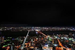 Scenic of Osaka City. Photo taken from Umeda City Building