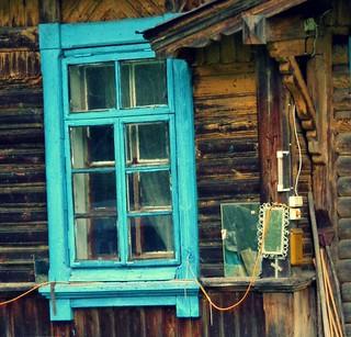 A blue window