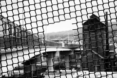 Hole in the Cage (Al Fed) Tags: 20170623 bethlehem pa usa squares fence hole quadratisch lichtblick rust belt peeping through bridge casino sands steel railroads justtofindyourselfanothercage cage liberation