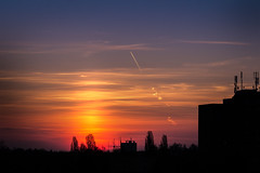 Morning Blues (Petr Sýkora) Tags: mood nebe východslunce sky sunrising colorful blues thecity cityscape airplane silhouette