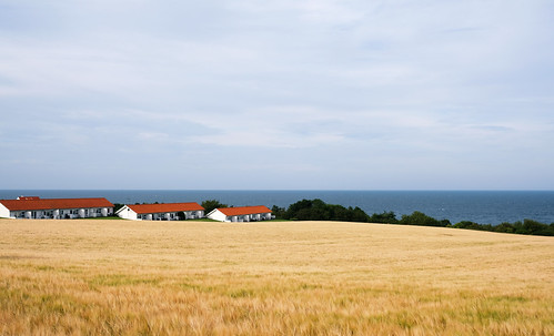 View of fields and the sea