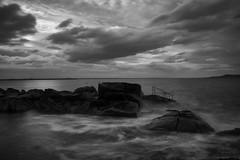 Decent (aaronflynndolan) Tags: blackandwhite black white nikon nikond5300 ireland dublin sea seascape water longexposure lights clouds cloudscape
