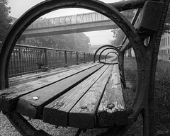 (Mr. Tailwagger) Tags: leica m240 superelmarm 21mm tailwagger lowell ma bench overpass canal fog spider webs