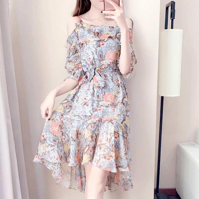 Chic one shoulder dress female summer 2017 new Korean Strapless slim Floral Chiffon Skirt beach sling