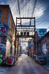 Art Alley (dharder9475) Tags: 2017 alley artalley cobblestone electriclines evening hdr murals privpublic sky sunset