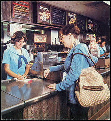 Eating at McDonald's in 1980 (Brett Streutker) Tags: restaurant cafe diner eatery food hamburger cheeseburger eat fast macdonalds burger vintage colonel sanders kentucky fried chicken big mac boy french fries pizza ice cream server tip money cash out dining cafeteria court table coffee tea serving steak shake malt pork fresh served desert pie cake spoon fork plate cup drive through car stand hot dog mustard ketchup mayo bun bread counter soda jerk owner dine carry deliver