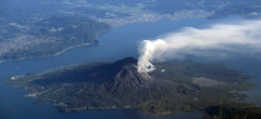 Sakurajima Volcano, Kagoshima, Japan (Jaws300) Tags: hill hills mountains mountain island clear sky from above aloft airborne scenery flying prefecture kagoshima japan sakurajima volcano wing winglet a300600 airbus kagoshimabay bay airplane aerial