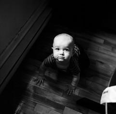Norbert (gguillaumee) Tags: film analog grain rolleiflex mediumformat baby crawling portrait bw blackandwhite mtl montreal marianne friend