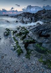 Mystical Seascape (Mick Blakey) Tags: shoreline slowexposure sand sunset cornish water mystical sea shadows blue beach rocky rocks blueskies coastal twilight towanhead pebbles seascape coast cornwall dusk clouds