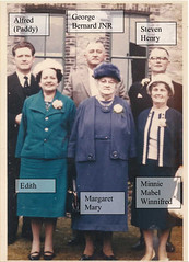 Margaret Mary Stratton with Alfred William L, George Bernard Jr, Stephen Henry, Edith Maude Mahon,  and Minnie Mabel Winifred Mahon