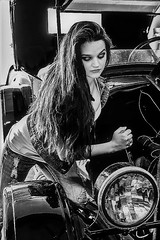 12032495_10207761069249431_955894009_n (fotodan57) Tags: girl greateyes greatbody garageshoot awesome antique beautiful brunette blacknwhite auto wheels white car classic cute chevy different jeans dirty longhair indoors nice young transportion tomboy friend fun friendly face skinny people posing pose portrait photoshoot teeshirt jacket wrench