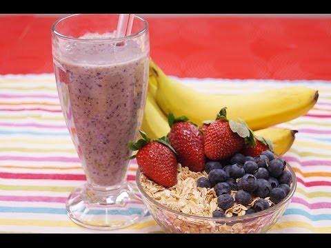 Nutrition & Régime Vidéos : Une sucette d'avoine saine Recette: Banana Berry: Smoothie Recette! Comment: Dishin 'With Di 128