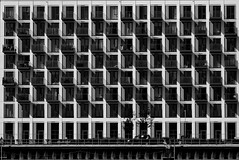 Stripey Shadows on an Apartment block near the O2 Arena, Greenwich, London.... (markwilkins64) Tags: architecture geometry london apartment shadows stripes blackandwhite monochrome thames waterfront uk greenwich balconies sunshine flats patterns abstract