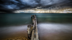 Passing storm (Chas56) Tags: ngc storm clouds bay melbourne portphillipbay pier jetty groyne beach sea water canon canon5dmkiii longexposure le nd ndfilter