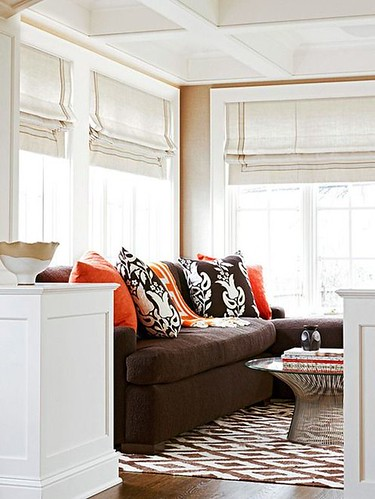 Living Room Decor : A brown couch or sofa can be a difficult piece of furniture to coordinate colors...
