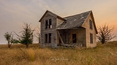 Here (Chris Lakoduk) Tags: abandoned home house homestead weathered derelict deterioration soft light color photography landscape architecture dead nobody nothing washington state usa trees sky grass dry reeds window door roof
