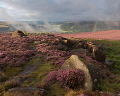 Over Owler Tor (Paul Newcombe) Tags: overowlertor peakdistrict morning sunrise heatehr derbyshire peaks england landscape gb colour nationalpark rain shower storm camom5dsr cnaon1635f4l august 2017 rainbow