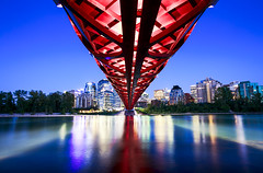 Red Peace Bridge (Bluesky251) Tags: alberta architect architecture beautiful blue bow bridge bright buildings calgary canada clear color design designer downtown engineer engineering forest green home lights mordern nature night nighttime peace peacebridge photographer popular quiet red reflection river silent sky skyline smooth summer tourist travel trees under warm water photography