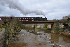 BR Class 4MT 2-6-4 Tank Locomotive No. 80080 crossing the viaductat Summerseats, enroute to Rawtenstall. East Lancs. 28 03 2016 (pnb511) Tags: loco locomotive steam engine train carriages bridge viaduct smoke exhaust tankengine water river clouds