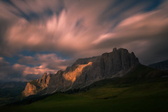 Mountain light 山映 (kaising_fung) Tags: clouds light dolomites italy motion lapse meadow cliff alps movement green
