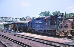Mixed Train on the Chesapeake and Ohio, July 1970. [Explored 8/5/2017] (miningcamper) Tags: mixedtrain passengertrain hotsprings fallenflag railway station depot copyrightminingcamper co chesapeakeandohio emd gp7