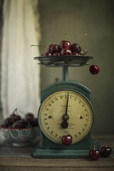 (donna leitch) Tags: cherries bowl tabletop stilllife kitchen scale foodscale vintage fruit