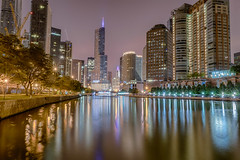 The Still of the Night (tquist24) Tags: chicago chicagoriver chicagoriverwalk hdr illinois nikon nikond5300 outdoor trumptower wrigleybuilding city cityscape crane downtown geotagged lights longexposure night reflection reflections river sky skyscrapers tree trees water unitedstates