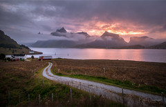 Fire Over Water (mikedemmingsphoto.com) Tags: norway landscape mountains seascape sunset outside outdoors arctic nikon d750 lofoten