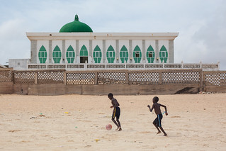 Football in front of the Mosque