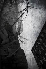 Post-industrial (Setnakhte) Tags: monochrome postindustrial decline mill disuse industrial urban urbandecay bradford barbedwire urbanexploration barkerendmills derelict