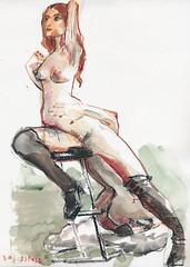 20170822_AMC_04 (r0sejam) Tags: manko carlatofano art artmodelcollective 2017 drawing lifedrawing sketch figuredrawing femalefigure dibujo croquis underdoggallery schiele a4 30minute