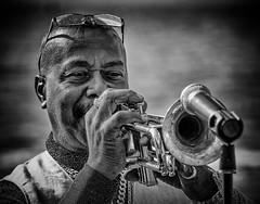 Solo Brass section (Andy J Newman) Tags: man blackandwhite silverefex convention elvis nikon d500 porthcawl black busker trumpet brass monochrome white wales unitedkingdom gb