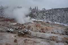 Yellowstone National Park - Winter-2 (hotcommodity) Tags: yellowstonenationalpark winter snow ice frozen grandprismaticsprings hotsprings geothermal nature wilderness mist steam clouds grey spring buffalo bison