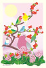 Chinese quince, bergenia, Lilian's lovebird, rosy-faced lovebird, Pacific parrotlet and galah (Japanese Flower and Bird Art) Tags: flower chinese quince chaenomeles speciosa rosaceae bergenia stracheyi saxifragaceae bird lilian's lovebird agapornis lilianae psittacidae rosyfaced roseicollis pacific parrotlet forpus coelestis galah eolophus roseicapilla cacatuidae rei kasahara modern digital print japan japanese art readercollection