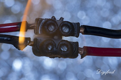 Bad connection. (Digifred.) Tags: macromondays connection digifred 2017 nederland netherlands pentaxk5 hmm macro macrophotography wire wires fire shortcircuit badconnection connector electricaldraden kortsluiting brand kroonsteentje