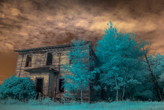 A Certain Death. (Fistfulofpowder) Tags: yeg yeggers yegphotography nikon d80 infrared ir supercolorir super color lifepixel converted dark sky skies clouds doom gloom cloudporn trees grass foliage windows doors abandoned homestead alberta house empty decay decayed wide angle decaying urban explore explorer urbex range road secondary highway two raw abandonment destruction weathered beaten skyporn ruins 2017 edmonton photographer nikkor open awesome abstract channel swap nature blue light tree white balance custom landscape summer september old rurex 590nm yegphotographer