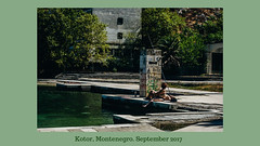 'Like the boss' (bluishgreen12) Tags: kotor montenegro autumn beach kotorbay marina jogooceania hotel ruin people graffiti green sea sunbathing carl zeiss planar 50 mm fujifilm xm1