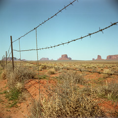 (patrickjoust) Tags: tlr twin lens reflex 120 6x6 medium format c41 color negative film manual focus analog mechanical patrick joust patrickjoust navajo nation southwest united states north america estados unidos rural country arizona az monument valley fence butte utah ut view desert barbed wire