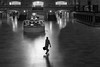 Early Arrival (John St John Photography) Tags: grandcentralterminal 42ndstreet vanderbiltavenue lexingtonavenue metronorth mainconcourse informationdesk clock man suitcase silhouette shadow commuter traveller arriving empty reflections alone bw blackandwhite blackwhite blackwhitephotos johnstjohn applestore