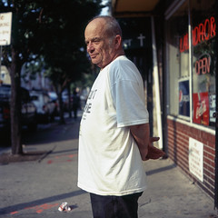 (patrickjoust) Tags: tlr twin lens reflex 120 6x6 medium format fuji chrome slide e6 color reversal expired discontinued film manual focus analog mechanical patrick joust patrickjoust pigtown washington village sowebo baltimore maryland md usa us united states north america estados unidos urban street city people person portrait man standing sidewalk