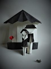 Les amoureux / The Lovers de Viviane Berty 2017 (Viviane des Papiers) Tags: amoureux peynet brassens origami vivianeberty douanierrousseau