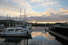 Marina at Sunset   Launceston, Tasmania (Ping Timeout) Tags: tasmania tassie state australia vacation holiday june 2017 island south commonwealth oz bass strait hobart tas marina water waterfront reflection cloud sky skies blue weather cold winter sunset afternoon colour color boat yacht vessel berth sea peppers hotel launceston city small town north esk river tamar wide angle scene scenery view outdoor creek warm