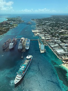 The Port Of Nassau, Bahamas Aerial View High Angle View Nautical Vessel Sea Freight Transportation Transportation Water Day Outdoors No People Mode Of Transport Ship Scenics Bahamas Nassau, Bahamas Travel Destinations Cruise Ship