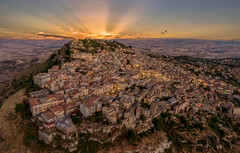 Sunset Assoro Sicily (mcalma68) Tags: assoro sicily italy sunset landscape drone aerial panoramic high angle architecture mountains clouds skyline sunray old village