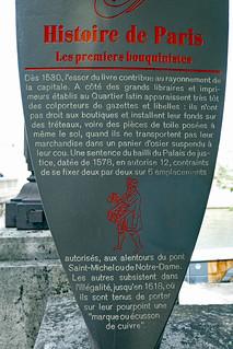 Les premiers bouquinistes plaque panneau - by the Pont de la Tournelle, Paris