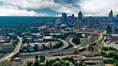 Atlanta, GA: Midtown shadowing the Brookwood Interchange of Interstate 75/85 (nabobswims) Tags: aerialphotography atlanta brookwoodinterchange georgia hdr helicopter highdynamicrange i75 i85 interstate75 interstate85 lightroom midtownatlanta nabob nabobswims photomatix sel18105g sonya6000 us unitedstates photoshop