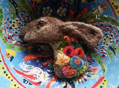 hare brooch (adore62) Tags: hare needlefelted brooch wool feltedfido felted feltedhare