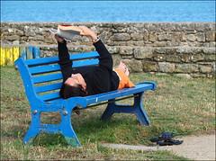 La lecture est à l'esprit ce que l'exercice est au corps. J. Addison (Phoebus58) Tags: bretagne brittany iletudy finistere bzh breizh mer sea banc bench livre lecture book reading bleu blue