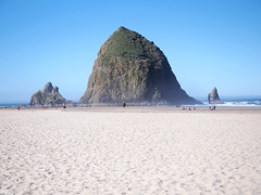 at the rock (janicelemon793) Tags: cannon beach summer sand haystackrock cannonbeach beachcombers oregon coastal touristshot usacoast morningstroll